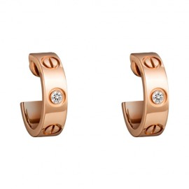 Cartier Love Earrings Pink Gold Fake With 2 Diamonds