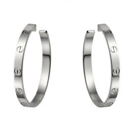 Cartier Love White Gold Screw Earrings Replica