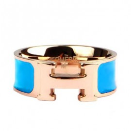 Hermes Blue Enamel Clic H Ring Replica Pink Gold