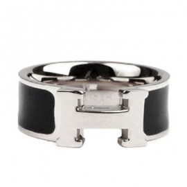 Hermes Black Enamel Clic H Ring Replica White Gold