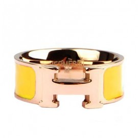 Hermes Yellow Enamel Clic H Ring Replica Pink Gold