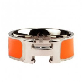Hermes Orange Enamel Clic H Ring Replica White Gold