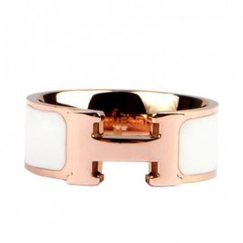 Hermes White Enamel Clic H Ring Replica Pink Gold