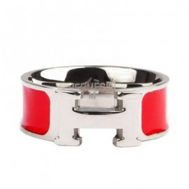 Hermes Red Enamel Clic H Ring Replica White Gold