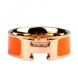 Hermes Orange Enamel Clic H Ring Replica Pink Gold
