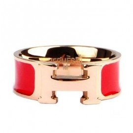 Hermes Red Enamel Clic H Ring Replica Pink Gold