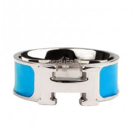 Hermes Blue Enamel Clic H Ring Replica White Gold