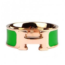 Hermes Green Enamel Clic H Ring Replica Pink Gold