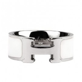 Hermes White Enamel Clic H Ring Replica White Gold
