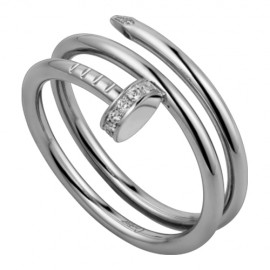 Cartier Juste Un Clou 2 Row Ring Copy Plated 18k White Gold Set With Diamonds