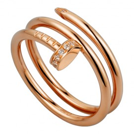 Cartier Juste Un Clou 2 Row Ring Fake Plated 18k Pink Gold Set With Diamonds