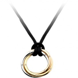 Trinity De Cartier Necklace Outlet 3-Gold Pendant Black Rope Diamond Pendant