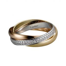 Trinity De Cartier 3-Gold Ring Replica Paved Diamonds Small Model