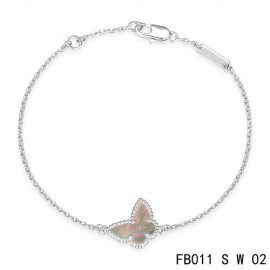 Van Cleef & Arpels Replica Sweet Alhambra Butterfly mini Bracelet in White Gold with Gray Mother-of-peral