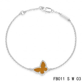 Van Cleef & Arpels Replica Sweet Alhambra Butterfly mini Bracelet in White Gold with Tiger's Eye