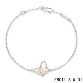 VCA Replica Sweet Alhambra White Mother-of-peral Butterfly Bracelet in White Gold