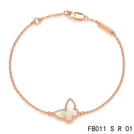 VCA Replica Sweet Alhambra White Mother-of-peral Butterfly Bracelet in Pink Gold