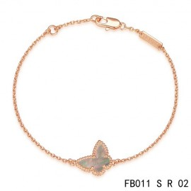 Replica Sweet Alhambra Gray Mother-of-peral Butterfly Bracelet in Pink Gold