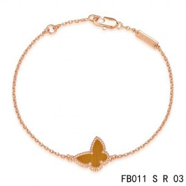 Van Cleef & Arpels Replica Sweet Alhambra Butterfly mini Bracelet in Pink Gold with Tiger's Eye
