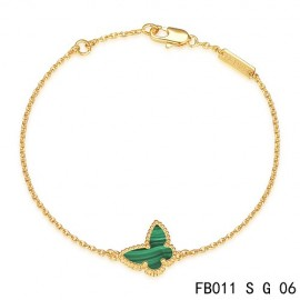 Van Cleef & Arpels Replica Sweet Alhambra Butterfly mini Bracelet in Yellow Gold with Malachite