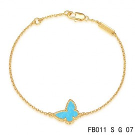 Van Cleef & Arpels Replica Sweet Alhambra Butterfly mini Bracelet in Yellow Gold with Turquoise