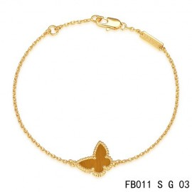 Van Cleef & Arpels Replica Sweet Alhambra Butterfly mini Bracelet in Yellow Gold with Tiger's Eye
