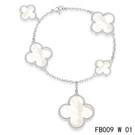 Van Cleef & Arpels Replica Magic Alhambra 5 White Mother of Pearl Motifs White Gold Bracelet