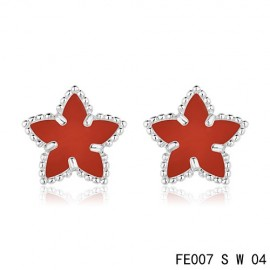 Van Cleef and Arpels White Gold Replica Vintage Alhambra Carnelian Star Earstuds