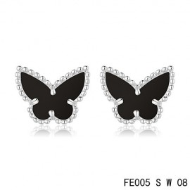 Van Cleef & Arpels Replica Sweet Alhambra Black Onyx Butterfly Earstuds White Gold