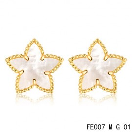 Van Cleef and Arpels Yellow Gold Replica Sweet Alhambra White MOP Star Earstuds