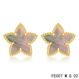 Van Cleef and Arpels Yellow Gold Replica Sweet Alhambra Grey MOP Star Earstuds