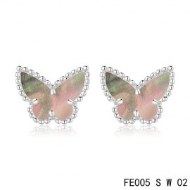 Van Cleef & Arpels Replica Sweet Alhambra Grey MOP Butterfly Earstuds White Gold