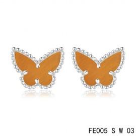 Van Cleef & Arpels Replica Vintage Alhambra Tiger's Eye Butterfly Earstuds White Gold