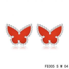 Van Cleef & Arpels Replica Sweet Alhambra Carnelian Butterfly Earstuds White Gold