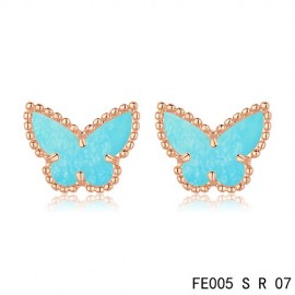 Van Cleef & Arpels Replica Sweet Alhambra Turquoise Butterfly Earstuds Pink Gold