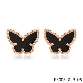 Van Cleef & Arpels Replica Vintage Alhambra Black Onyx Butterfly Earstuds Pink Gold