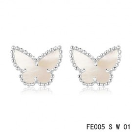 Van Cleef & Arpels Replica Sweet Alhambra White MOP Butterfly Earstuds White Gold
