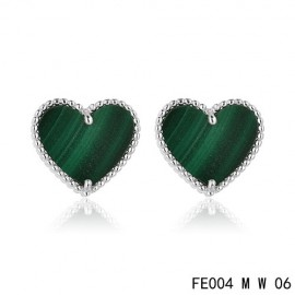 Van Cleef and Arpels Replica Sweet Alhambra Heart Earstuds White Gold Malachite