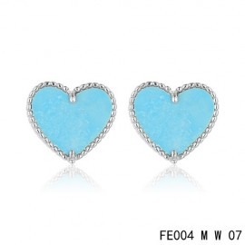 Van Cleef and Arpels Replica Sweet Alhambra Heart Earstuds White Gold Turquoise