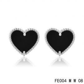 Van Cleef and Arpels Replica Sweet Alhambra Heart Earstuds White Gold Black Onyx