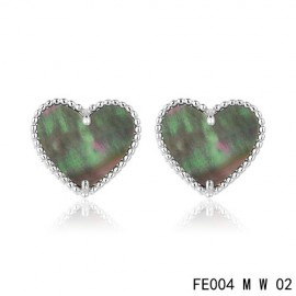 Van Cleef and Arpels Replica Sweet Alhambra Heart Earstuds White Gold Grey MOP