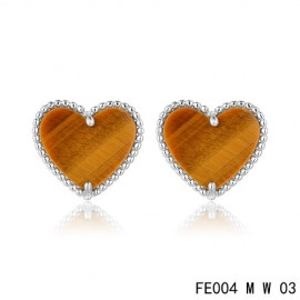 Van Cleef and Arpels Replica Sweet Alhambra Heart Earstuds White Gold Tiger's Eye