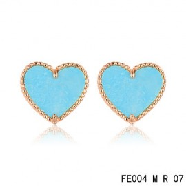 Van Cleef & Arpels Pink Gold Replica Sweet Alhambra Turquoise Heart Earstuds