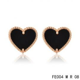 Van Cleef & Arpels Pink Gold Replica Sweet Alhambra Black Onyx Heart Earstuds