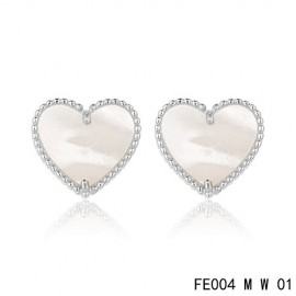 Van Cleef and Arpels Replica Sweet Alhambra Heart Earstuds White Gold White MOP