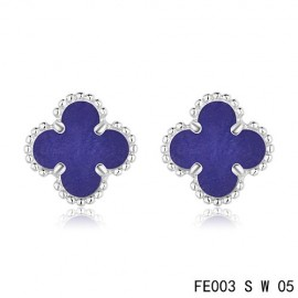 Van Cleef Arpels Replica Vintage Alhambra Lapis lazuli Earrings White Gold