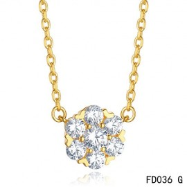 Van Cleef & Arpels Yellow Gold Replica Floral Fleurette Pendant Necklace 7 Diamonds