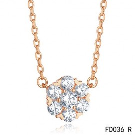 Van Cleef & Arpels Pink Gold Replica Floral Fleurette Pendant Necklace 7 Diamonds