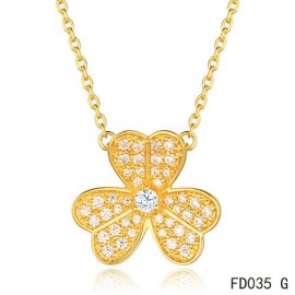 Van Cleef Arpels Replica Frivole Necklace Pink Gold with Pave Diamonds