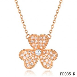 Van Cleef Arpels Replica Frivole Necklace Yellow Gold with Pave Diamonds